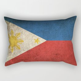 Old and Worn Distressed Vintage Flag of Philippines Rectangular Pillow