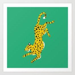 Green Leopard Art Print