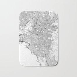 Athens White Map Bath Mat