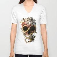garden V-neck T-shirts featuring Garden Skull Light by Ali GULEC
