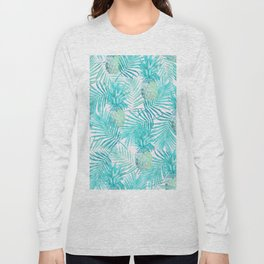 Turquoise Palm Leaves and Pineapples on Pink Long Sleeve T-shirt