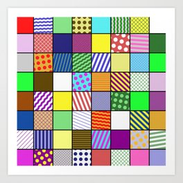 Retro Patchwork - Abstract, geometric, patterned design Art Print