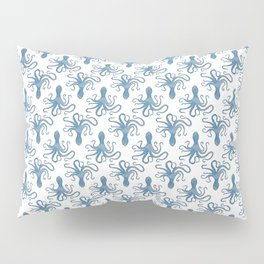 Octopus blue watercolor pattern - Lo Lah Studio Pillow Sham