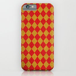 Vintage diamond pattern. Glitter checked red yellow vintage background iPhone Case
