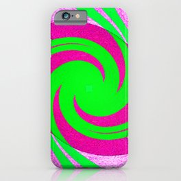 Colorful red, pink and green spiral swirling elliptical constellation star galaxy abstract design iPhone Case