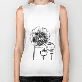Floral print minimalist wall art print monochrome print black and white print flower Biker Tank