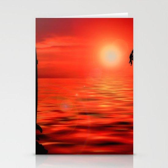 Surfer Sunset Stationery Cards