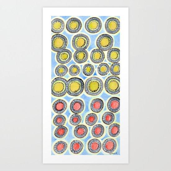 Yellow and Red Sunshine Pattern Art Print