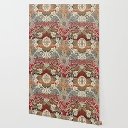 Botanical Embroidery II // Flowery Colorful Red Blue Green Yellow Tan Ornate Accent Rug Pattern Wallpaper