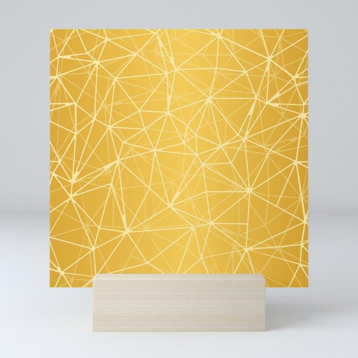 Mosaic Triangles Repeat Seamless Pattern gold Mini Art Print
