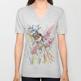 Birds and Flowers,The Sparrow in the Garden, Sparrow bird, floral design art Unisex V-Neck