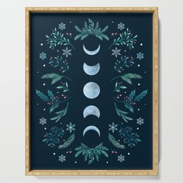 Moonlight Garden - Teal Snow Serving Tray