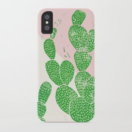 Linocut Cacti Family iPhone Case