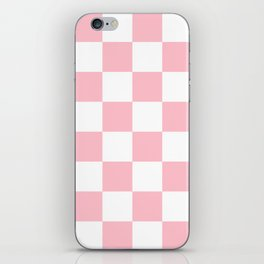Large Checkered - White and Pink iPhone Skin