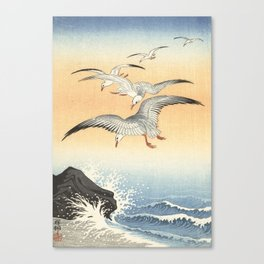 Japanese Seagull Woodblock Print by Ohara Koson Canvas Print