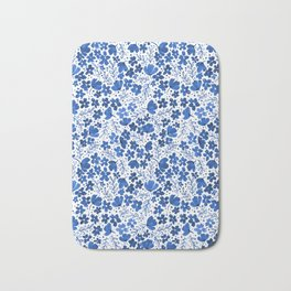 Blue Watercolor Flowers China Pattern Bath Mat
