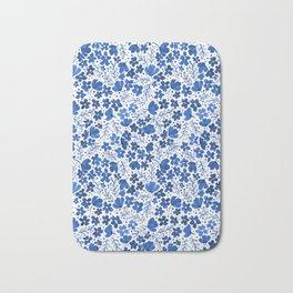 Blue Watercolor Flowers China Pattern Bath Mat