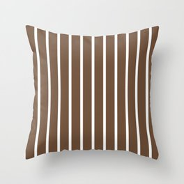 Vertical Lines (White/Coffee) Throw Pillow