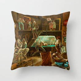 Classical African-American Masterpiece 'Saturday Night Durham' by Ernie Barnes Throw Pillow