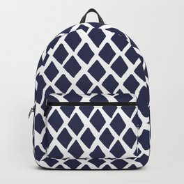 Rhombus Blue And White Backpack