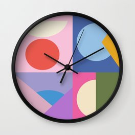 Colorful Bauhaus Style Shape Art in Pink, Blue, Yellow, and Green Wall Clock