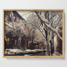 Photo of the beautiful Brooklyn Heights covered in icy snow Serving Tray