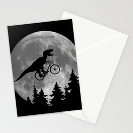 Biker t rex In Sky With Moon 80s Parody Stationery Cards