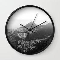 rio de janeiro Wall Clocks featuring Rio de Janeiro, Brasil by Angelika Albaladejo