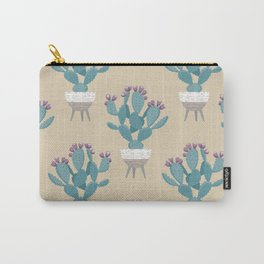 Prickly pear cactus in a basket planter Carry-All Pouch