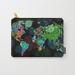 world map tropical leaves Carry-All Pouch