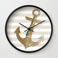 gold glitter Wall Clocks featuring GLITTER ANCHOR IN GOLD by colorstudio