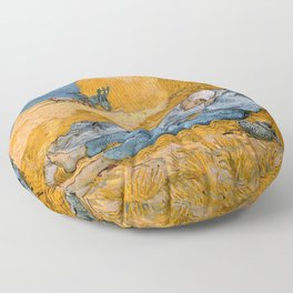 Noon - rest from work by Vincent van Gogh Floor Pillow