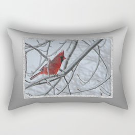 Redbird on Icy Tree Branch Rectangular Pillow