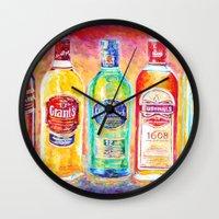 whiskey Wall Clocks featuring Whiskey by LiliyaChernaya