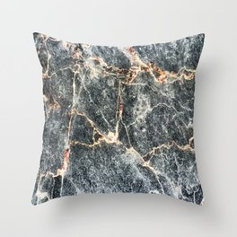 Gray Slate Marble Pattern With Pastel Copper Veins Throw Pillow