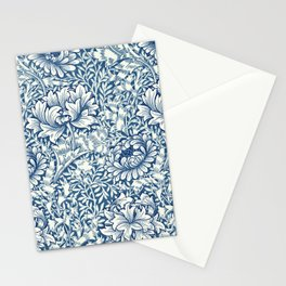 William Morris Navy Blue Botanical Pattern 8 Stationery Cards