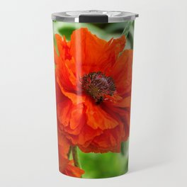 Flower wall art, flower print decor. Red poppy blooming on field. Wild red poppies flowers. Travel Mug