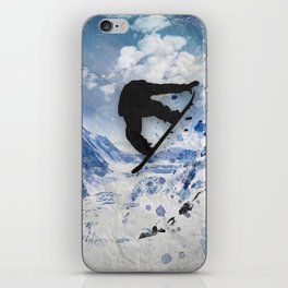 Snowboarder In Flight iPhone Skin