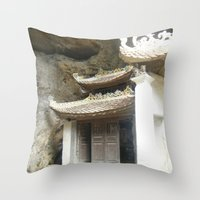 vietnam Throw Pillows featuring Vietnam Mountainside by Lili Lash-Rosenberg