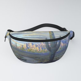 Superstition Mountains and Desert Landscape by John Marshall Gamble Fanny Pack