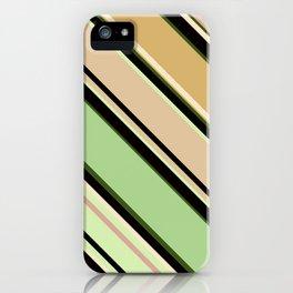 Striped pattern, diagonal.Brown, beige, green ,black stripes. iPhone Case