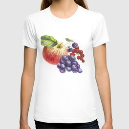 Composition of realistic fruits on a white background in vintage style. Apple, blackberry, red curra T-shirt