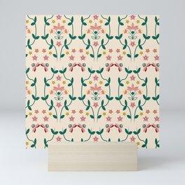Fall Winter Floral Pattern Almond Oil BG Mini Art Print