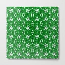 Green Floral Geometric Pattern Metal Print