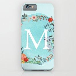 Personalized Monogram Initial Letter M Blue Watercolor Flower Wreath Artwork iPhone Case