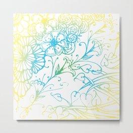 Floral Colorful Zenart Doodle Design 4 Metal Print