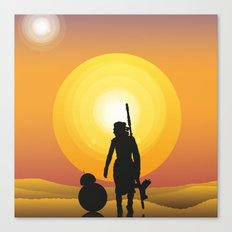 Walking under two suns Canvas Print