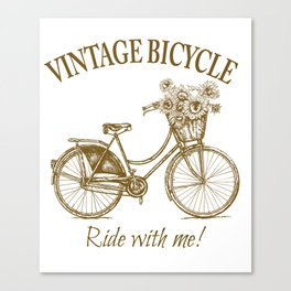 Vintage Bicycle With Sunflower Basket Canvas Print