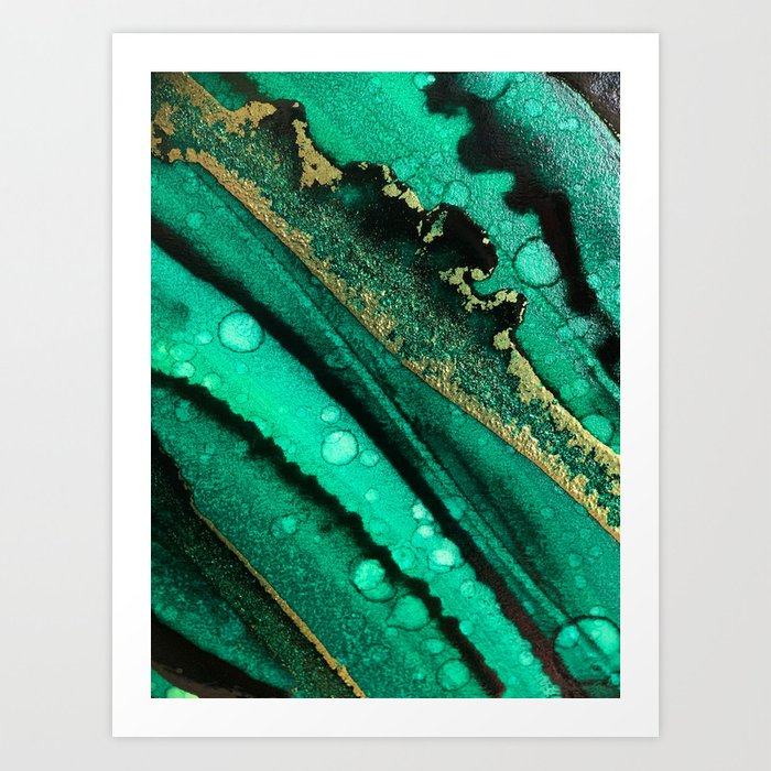 Malachite inspired alcohol ink painting with flecks of gold and hints of black and emerald green Kunstdrucke