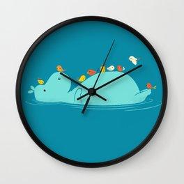 Floating Hippo Wall Clock